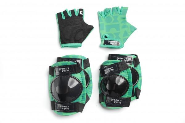 Защита для детей Green Cycle Flash наколенники, налокотники, перчатки, зеленый