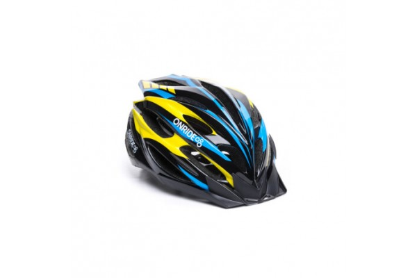 Шлем ONRIDE Grip глянцевый черный / желтый / голубой L (58-61 см)