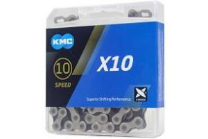 Ланцюг KMC Х10 10 швидкостей срібний/чорний 114 ланок + замок золотистий